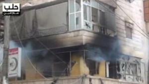 Syrie : image des bombardements à Alep retransmise par plusieurs chaînes d'information en continu au Moyen-Orient (28 juillet 2012)