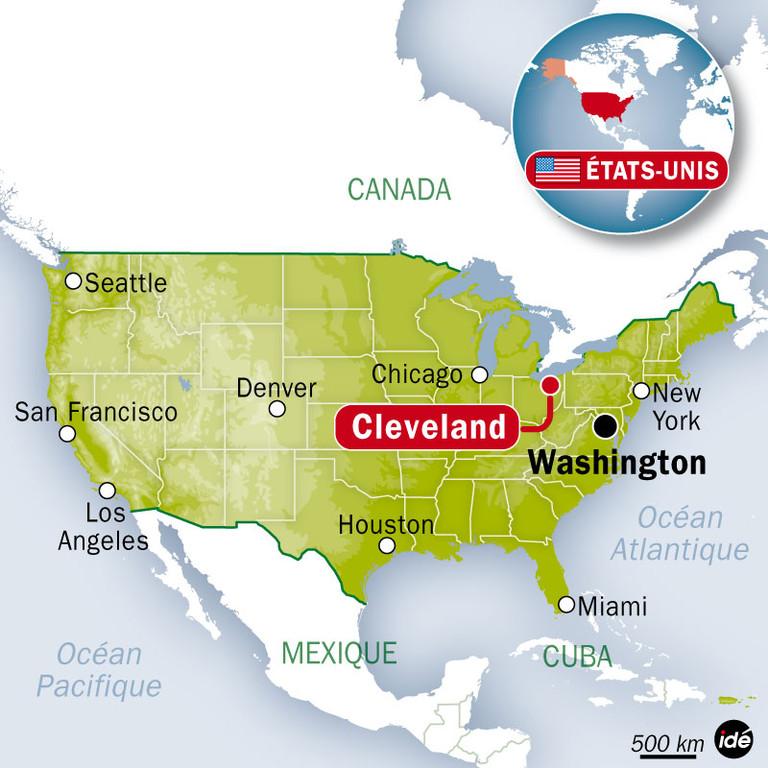 Carte des Etats-Unis avec Cleveland