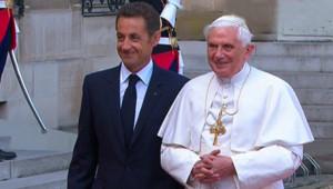 Le pape et Nicolas Sarkozy à l'Elysée, le 12 septembre 2008