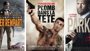 Les affiches des films Le Dernier Rempart, Du plomb dans la tête et Parker