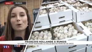 Dans un parfum de campagne, Hollande inaugure la halle bio du marché de Rungis