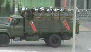 Lhassa, quadrillée par les forces de l'ordre, dimanche 16 mars 2006