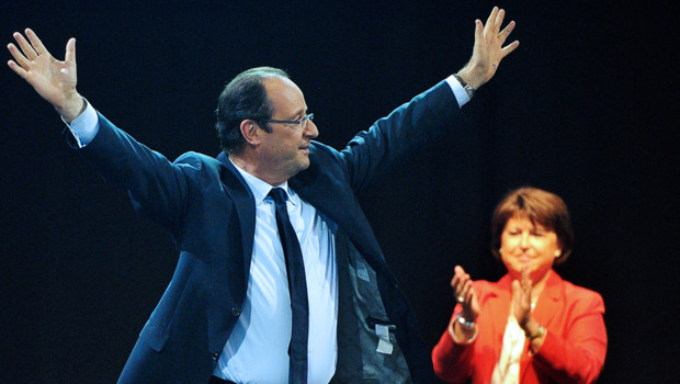 François Hollande en meeting à Lillen Aubry PS