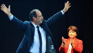 François Hollande en meeting à Lillen Aubry PS
