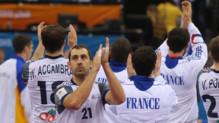 Les Bleus après leur victoire contre la Suède, le 24 janvier 2015 à Doha.