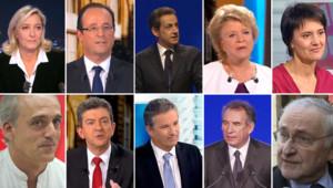 Les candidats à la présidentielle 2012.