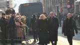 Alain Delon et Mireille Darc aux funérailles d'Annie Girardot