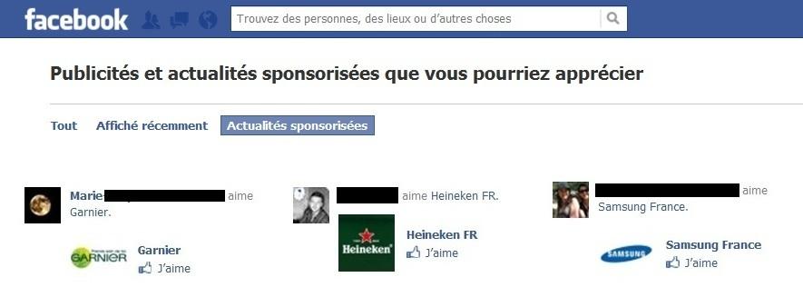 Facebook utilise la photo et le nom de ses utilisateurs pour promouvoir des marques qu'ils ont