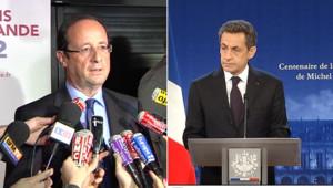 François Hollande en Guadeloupe, Nicolas Sarkozy à Amboise, le 15 janvier 2012.