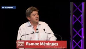 """Jean-Luc Mélenchon lors du discours de clôture du """"Remue méninges"""" du Parti de gauche, le 23 août 2013 à Saint-Martin-d'Hères, dans l'Isère."""