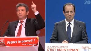 Jean-Luc Mélenchon et François Hollande.