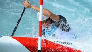 Tony Estanguet, champion olympique en canoë slalom, aux JO de Londres (29 juillet 2012)