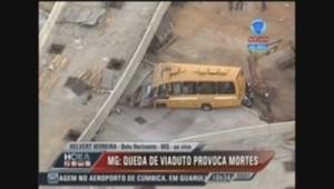 Une bretelle d'autoroute s'effondre au Brésil.