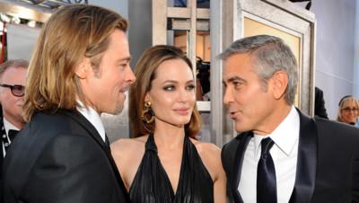 Brad Pitt, Angelina Jolie et George Clooney aux Screen Actors Guild Awards le 29 janvier 2012 à Los Angeles