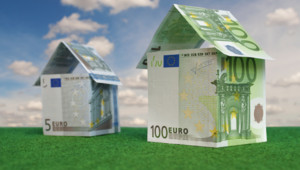 Houses made out of euro notes