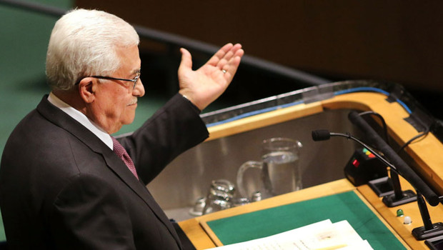 Le leader de l'autorité palestinienne Mahmoud Abbas à la tribune de l'Assemblée générale de lONU le 29 novembre 2012.
