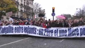 """""""Apolitique"""", le défilé contre le mariage pour tous était organisé à Paris mais aussi dans d'autres villes de France samedi après-midi."""