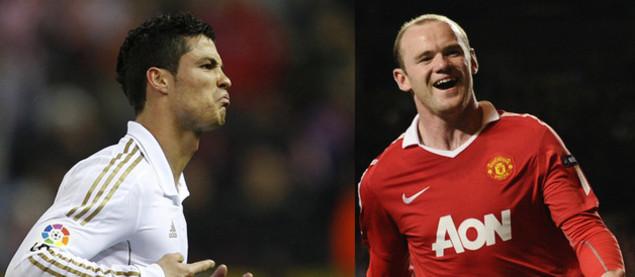 Cristiano Ronaldo (Real Madrid) et Wayne Rooney (Manchester United)