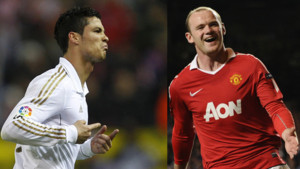 Cristiano Ronaldo (Real Madrid) et Wayne Rooney (Manchester United)