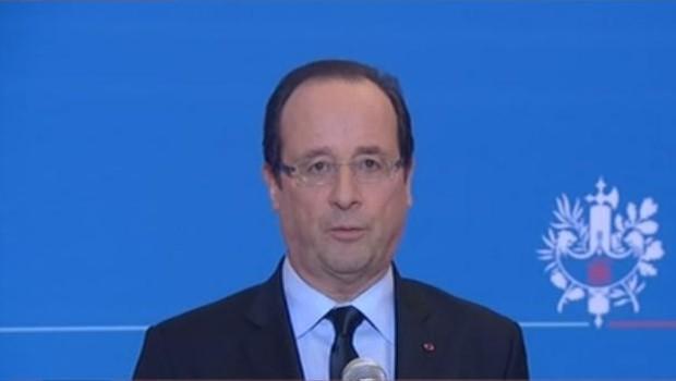 François Hollande lors de son allocution après la libération de Florence Cassez, le 23 janvier 2013.