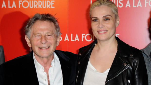 """Roman Polanski et Emmanuelle Seigner lors de l'avant-première du film """"La Vénus à la fourrure"""" à Paris le 4 novembre 2013"""