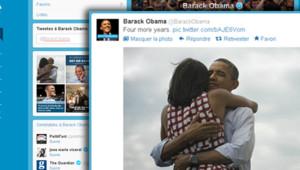 """""""Nous sommes tous ensemble. C'est comme ça que nous avons fait campagne et c'est ce que nous sommes. Merci. -bo"""", a tweeté Barack Obama dans ce message signé de ses initiales"""