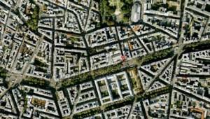 Vue aérienne de Paris avec l'emplacement de l'Elysée Montmartre (22/03/2011)