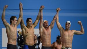 Le relais 4x100m libre français (Agnel, Manaudou, Gilot, Stravius) remporte l'or des championnats du monde de Barcelone 2013