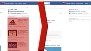 Une page Facebook avec et sans bloqueur de publicités