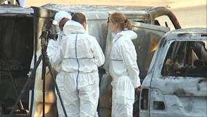 Enquêteurs sur les lieux de la fusillade de l'A4 (20 mai 2010)