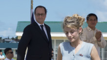 François Hollande et Mélanie Laurent aux Philippines le 26 février 2015