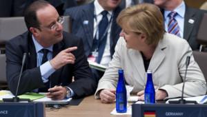 François Hollande et Angela Merkel, au sommet de l'Otan à Chicago, le 21/5/12