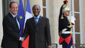 François Hollande et Alphé Condé, président de la Guinée, à l'Elysée, le 2/7/12