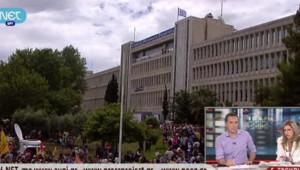 Grèce : manifestation de soutien devant l'ERT, 13/6/13