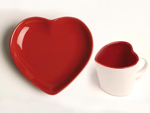 Déco Assiette coeur et tasse coeur monoprix