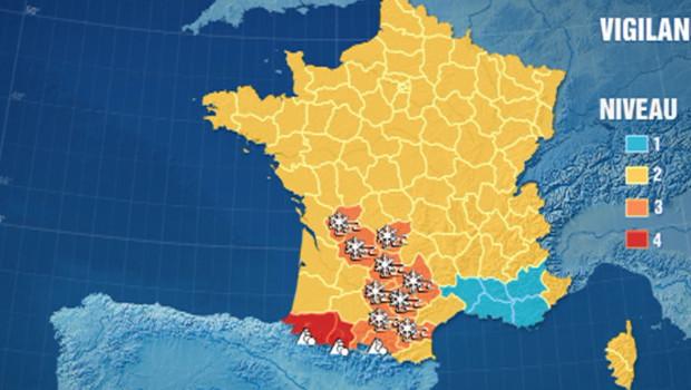 La carte de vigilance météo le 15 janvier 2013 à 17h30