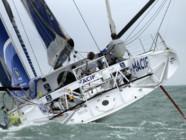 Le bateau Imoca 60 Macif des navigateurs français Francois Gabart et Michel Desjoyeaux en novembre 2013.