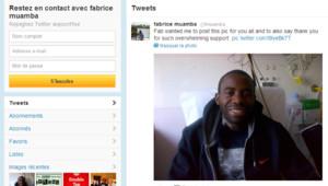Fabrice Muamba souriant sur son lit d'hôpital le 30 mars 2012.