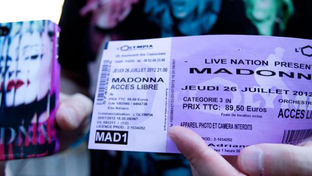 Une place pour le concert de Madonna à l'Olympia.