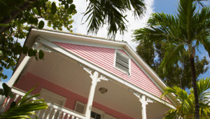 Exterior of quaint pink house and palm trees