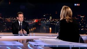 Nicolas Sarkozy sur le plateau du 20h de TF1 le 15 février 2012