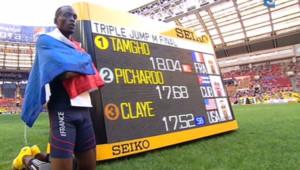 Teddy Tamgho sacré champion du monde du triple saut, le 18 août 2013 à Moscou.