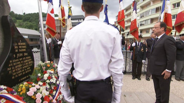 Hollande rend hommage aux 99 pendus de Tulle, le 9 juin 2012.