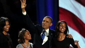 La famille Obama juste après la victoire de Barack à la présidentielle américaine, le 7 novembre 2012