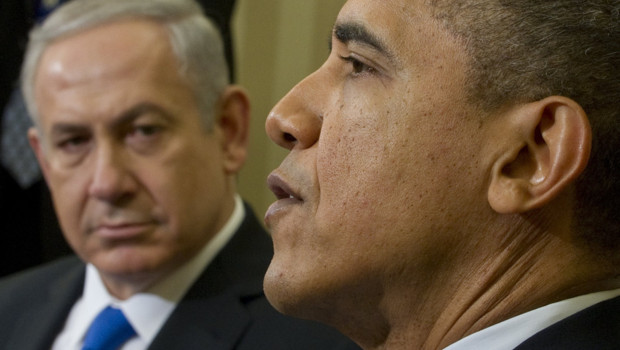Benjamin Netanyahu, reu  la Maison blanche par Barack Obama, le 6 mars 2012.