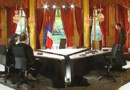 Le plateau où se déroulera l'interview de Nicolas Sarkozy à l'Elysée, le 24 avril 2008