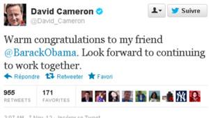 Le tweet de félicitation de David Cameron