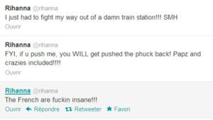 Capture d'écran du compte Twitter de Rihanna après son arrivée à Paris.