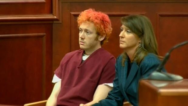 James Holmes, l'Américain de 24 ans accusé d'être l'auteur de la fusillade dans un cinéma du Colorado devant le tribunal le 23/07/2012.