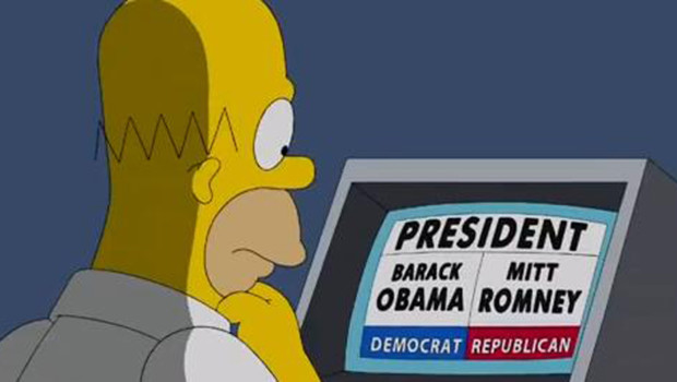Homer Simpson vote entre Barack Obama et Mitt Romney (pisode diffus en octobre 2012)